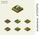 isometric way set of crossroad  ...   Shutterstock .eps vector #671553976