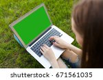 top view of woman sitting in... | Shutterstock . vector #671561035