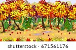 autumn forest landscape with... | Shutterstock .eps vector #671561176