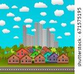 city skyline vector...   Shutterstock .eps vector #671575195