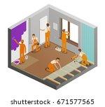 repairing flat concept....   Shutterstock .eps vector #671577565