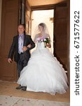 father of bride with her... | Shutterstock . vector #671577622