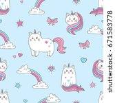 seamless cats unicorns pattern. ... | Shutterstock .eps vector #671583778