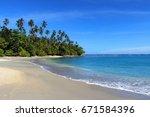 tropical beach  solomon islands ... | Shutterstock . vector #671584396