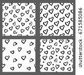 hand drawn ink seamless pattern ... | Shutterstock .eps vector #671585086