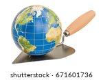 masonry trowel with earth globe