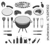 bbq. barbecue and grill design... | Shutterstock .eps vector #671609302