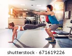 young muscular couple having... | Shutterstock . vector #671619226