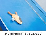 old pingpong rackets and ball... | Shutterstock . vector #671627182