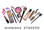 makeup brush and cosmetics  on... | Shutterstock . vector #671631532