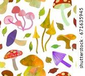 mushrooms. seamless pattern.... | Shutterstock .eps vector #671635945