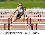track and field athlete jumps... | Shutterstock . vector #67164097