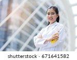 smart woman female doctor...   Shutterstock . vector #671641582