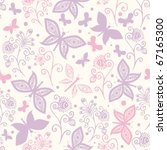 Stock vector seamless pattern with butterflies and flowers 67165300