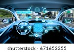 empty cockpit of vehicle. hud... | Shutterstock . vector #671653255