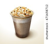 caramel mocha cocoa smoothie... | Shutterstock .eps vector #671658712