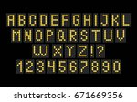 alphabet and numbers of light... | Shutterstock .eps vector #671669356