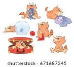 set of vector cartoon... | Shutterstock .eps vector #671687245