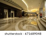 hotel lobby interior with... | Shutterstock . vector #671689048