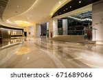 hotel lobby interior with... | Shutterstock . vector #671689066