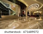 hotel lobby interior with...   Shutterstock . vector #671689072