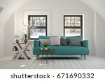 white room with sofa and winter ... | Shutterstock . vector #671690332