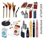 vector cartoon set of smoking... | Shutterstock .eps vector #671691265