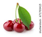 fresh cherries with leaf... | Shutterstock . vector #671703415