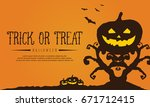 tree and pumpkin background for ... | Shutterstock .eps vector #671712415