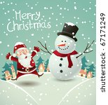 santa claus and snowman   Shutterstock .eps vector #67171249