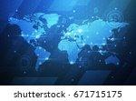 global abstract bitcoin crypto... | Shutterstock .eps vector #671715175
