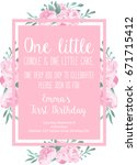 first birthday invitation light ... | Shutterstock .eps vector #671715412