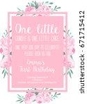 first birthday invitation light ... | Shutterstock .eps vector #671715412