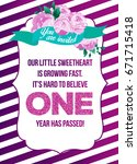first birthday invitation girl  ... | Shutterstock .eps vector #671715418