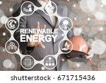 renewable energy industry 4.0... | Shutterstock . vector #671715436
