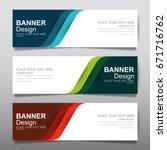 Stock vector collection blue green and red horizontal business banner set vector templates clean modern 671716762