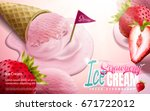 strawberry ice cream cone ads ... | Shutterstock .eps vector #671722012