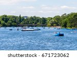paddling boats on the... | Shutterstock . vector #671723062