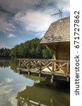 house on a trakoscan lake   Shutterstock . vector #671727862