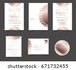 set of wedding invitation card. ... | Shutterstock .eps vector #671732455