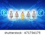 3d people around dollar sign | Shutterstock . vector #671736175
