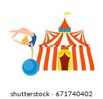 circus concept. gymnast girl in ... | Shutterstock .eps vector #671740402