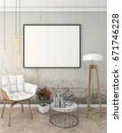 mock up poster frame in loft... | Shutterstock . vector #671746228