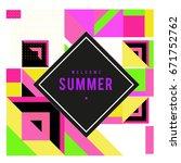 trendy vector summer cards... | Shutterstock .eps vector #671752762
