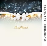 christmas background with bow... | Shutterstock .eps vector #671757958