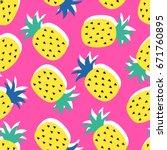 vector seamless pineapple fruit ... | Shutterstock .eps vector #671760895