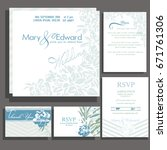 set of wedding cards or... | Shutterstock .eps vector #671761306