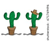 two cacti in flower pots.... | Shutterstock .eps vector #671769496