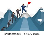 business people team climbing... | Shutterstock . vector #671771008
