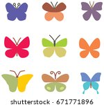 colorful butterflies icons | Shutterstock .eps vector #671771896